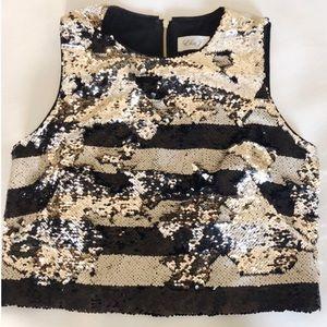 Stripe Crop Top Black Ivory w/ Reversible Sequins